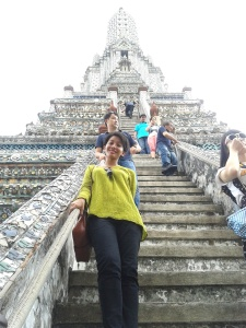 ..and it's me scarily climbing down Wat Arun vertical staircase